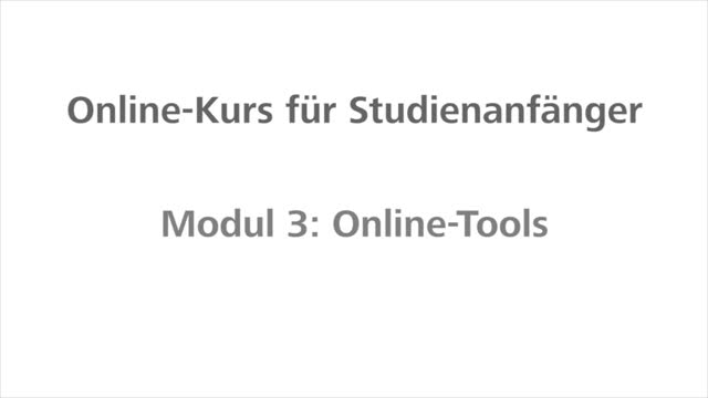 Fit fürs Studium - Modul 3 - Online Tools