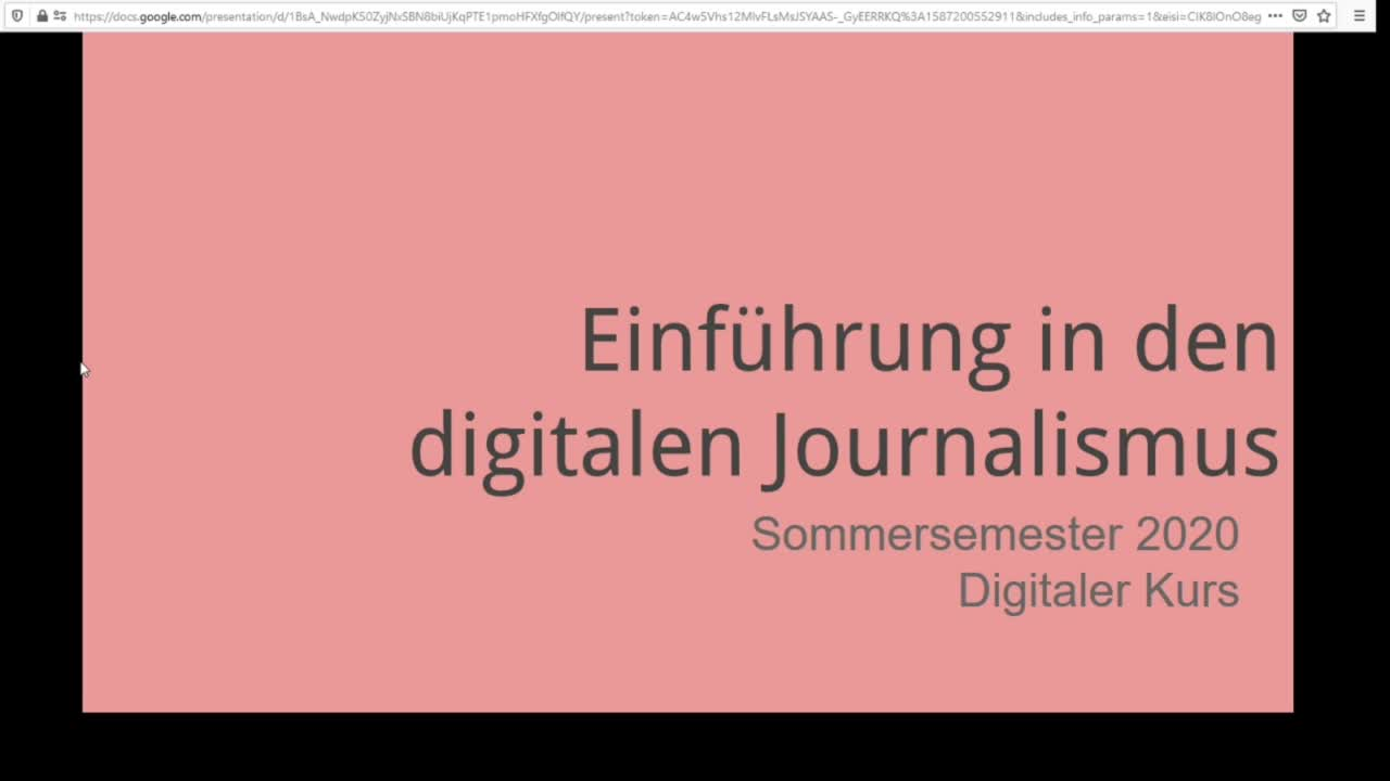 Screencast Digitaler Journalismus: Einführung in den digitalen Journalismus