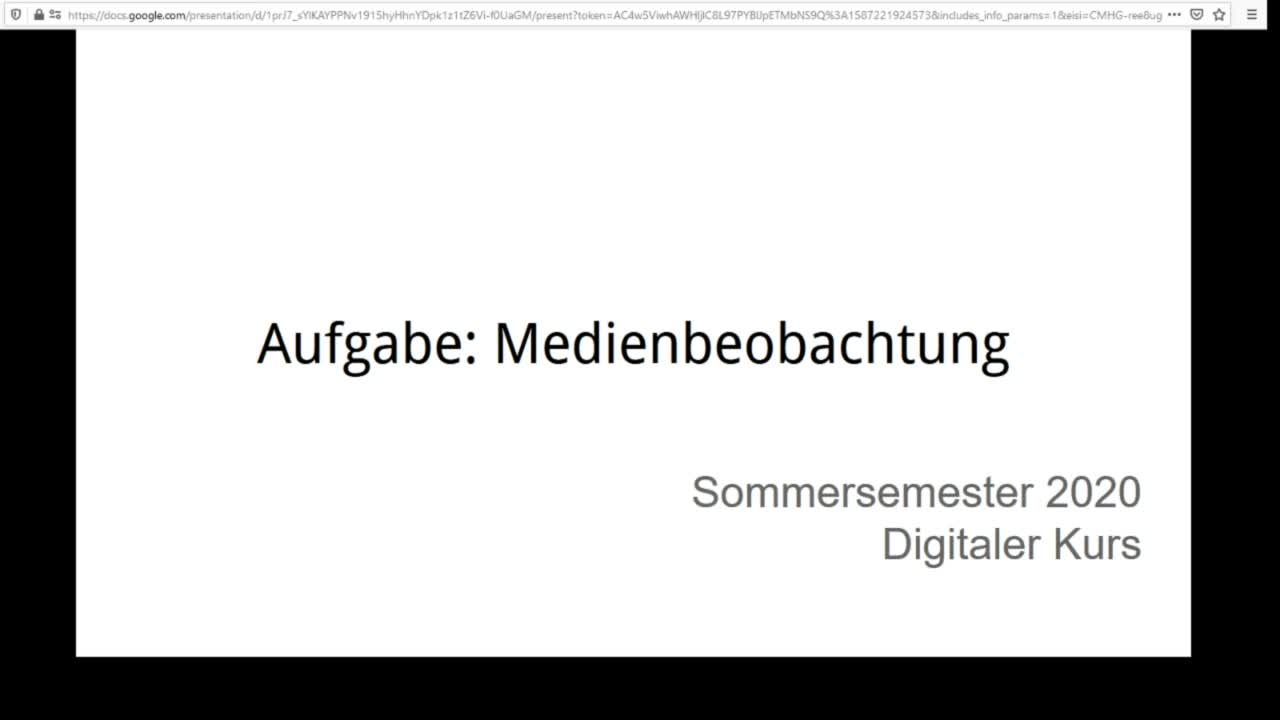 Screencast Digitaler Journalismus: Aufgabe Medienbeobachtung