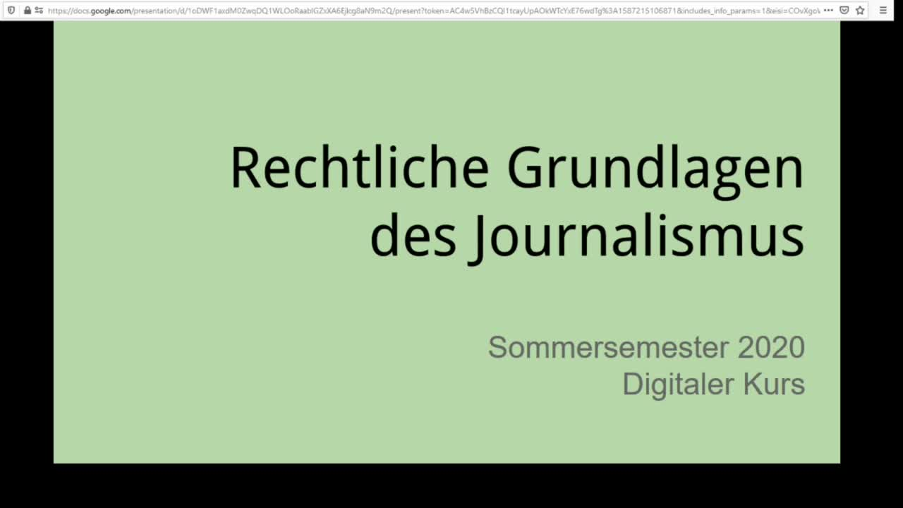 Screencast Digitaler Journalismus: Rechtliche Grundlagen
