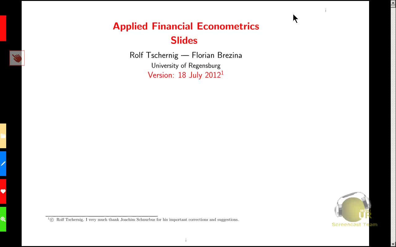 Applied Financial Econometrics, Lecture 3