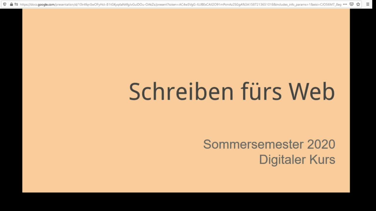Screencast Digitaler Journalismus: Schreiben fürs Web