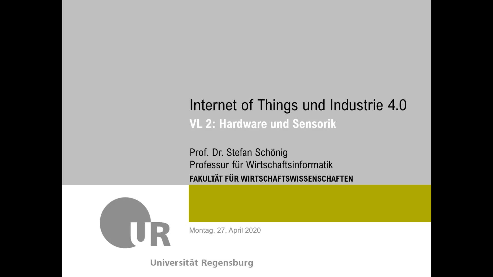 SS 2020 - Internet of Things und Industrie 4.0 - Kapitel 2 (Hardware - RFID)