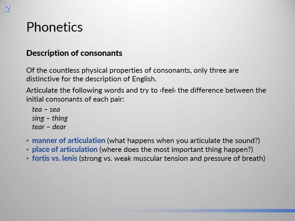 Introduction to English Linguistics I: Theory and Structure – 02 Phonetics – C