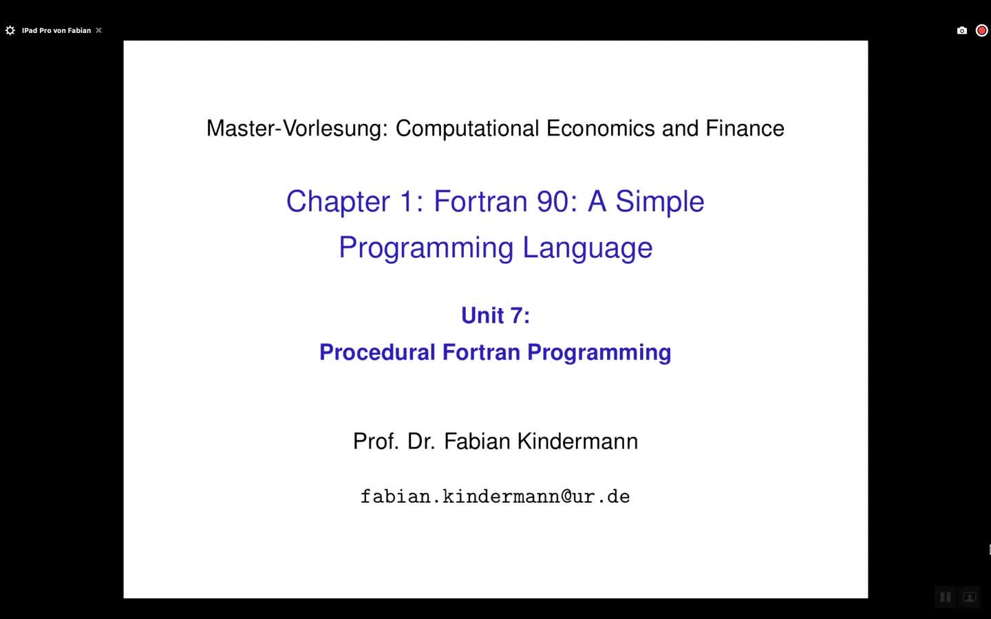 Chapter 1 - Unit 7 - Procedural Fortran Programming