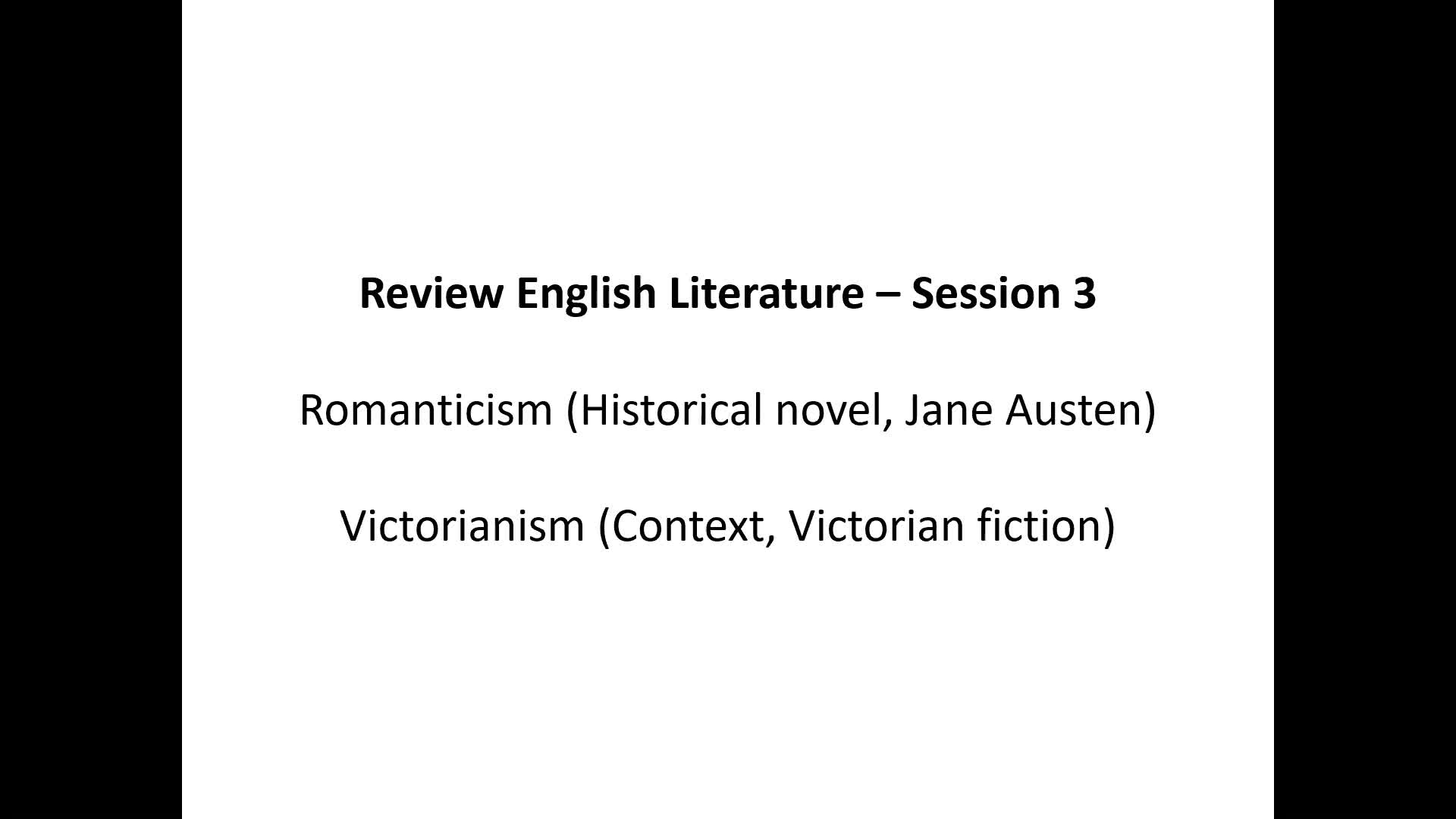Review English Literature, Session 3