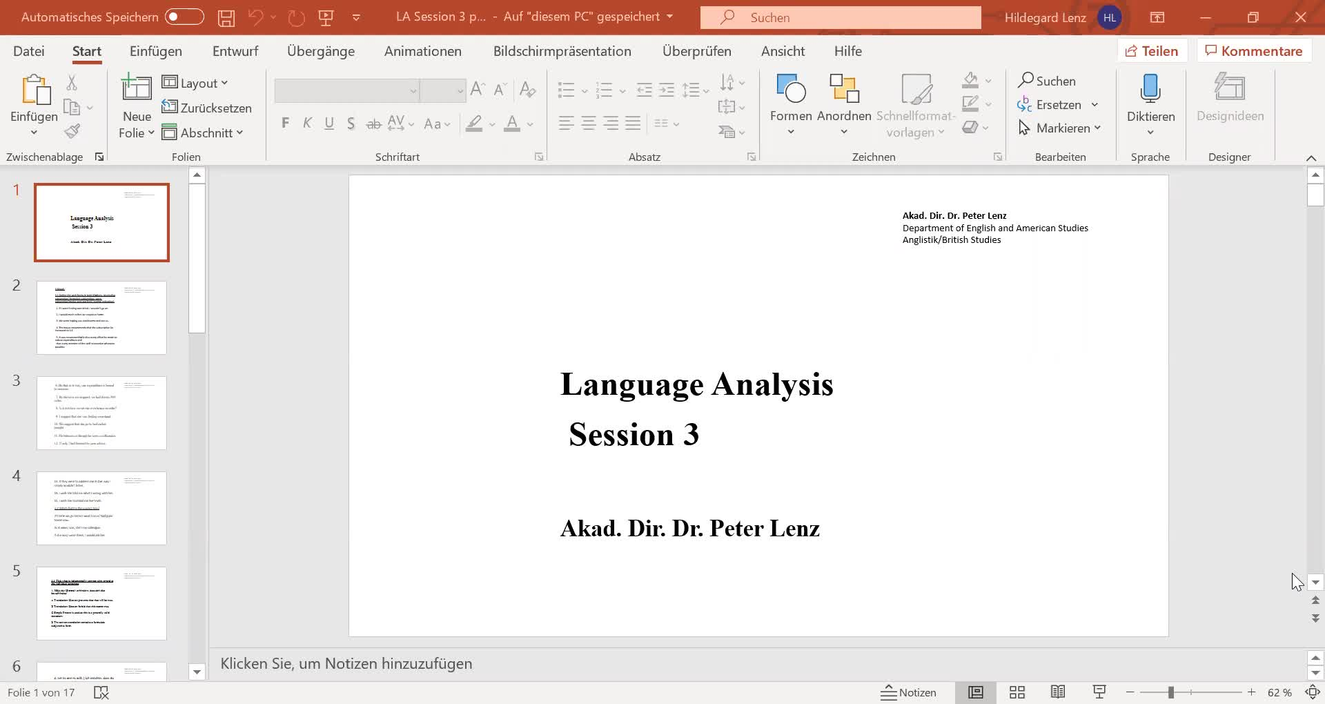 Language Analysis Session 3