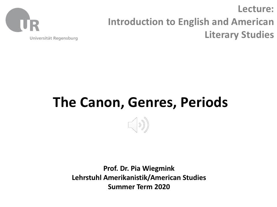 Canon, Genres, Periods, part II