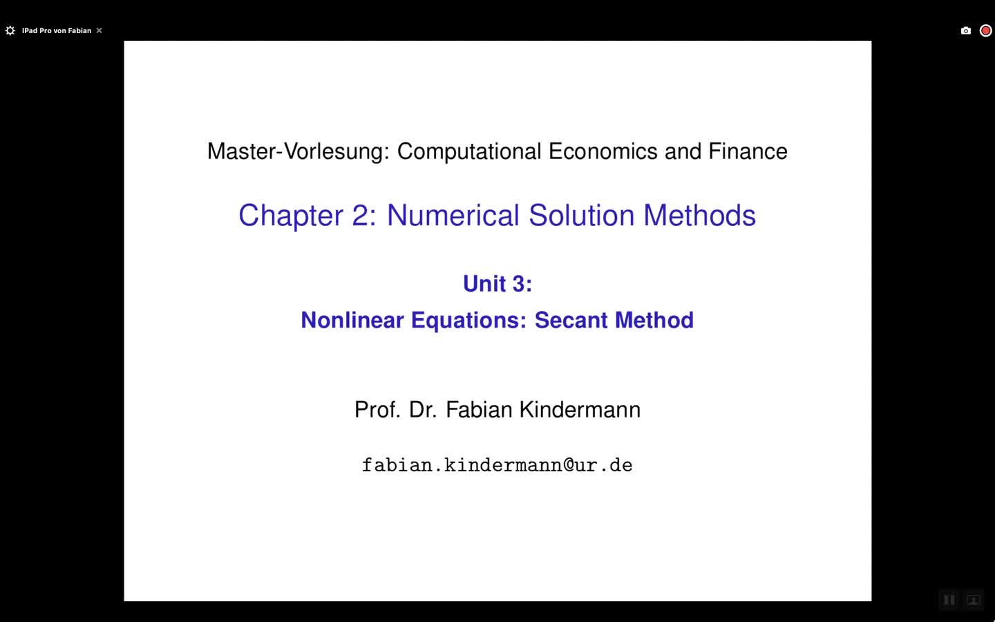 Chapter 2 - Unit 3 - Nonlinear Equations: Secant Method