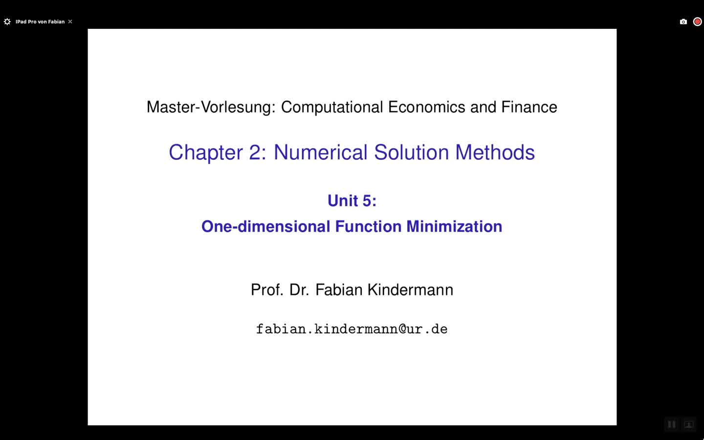 Chapter 2 - Unit 5 - One-dimensional Function Minimization