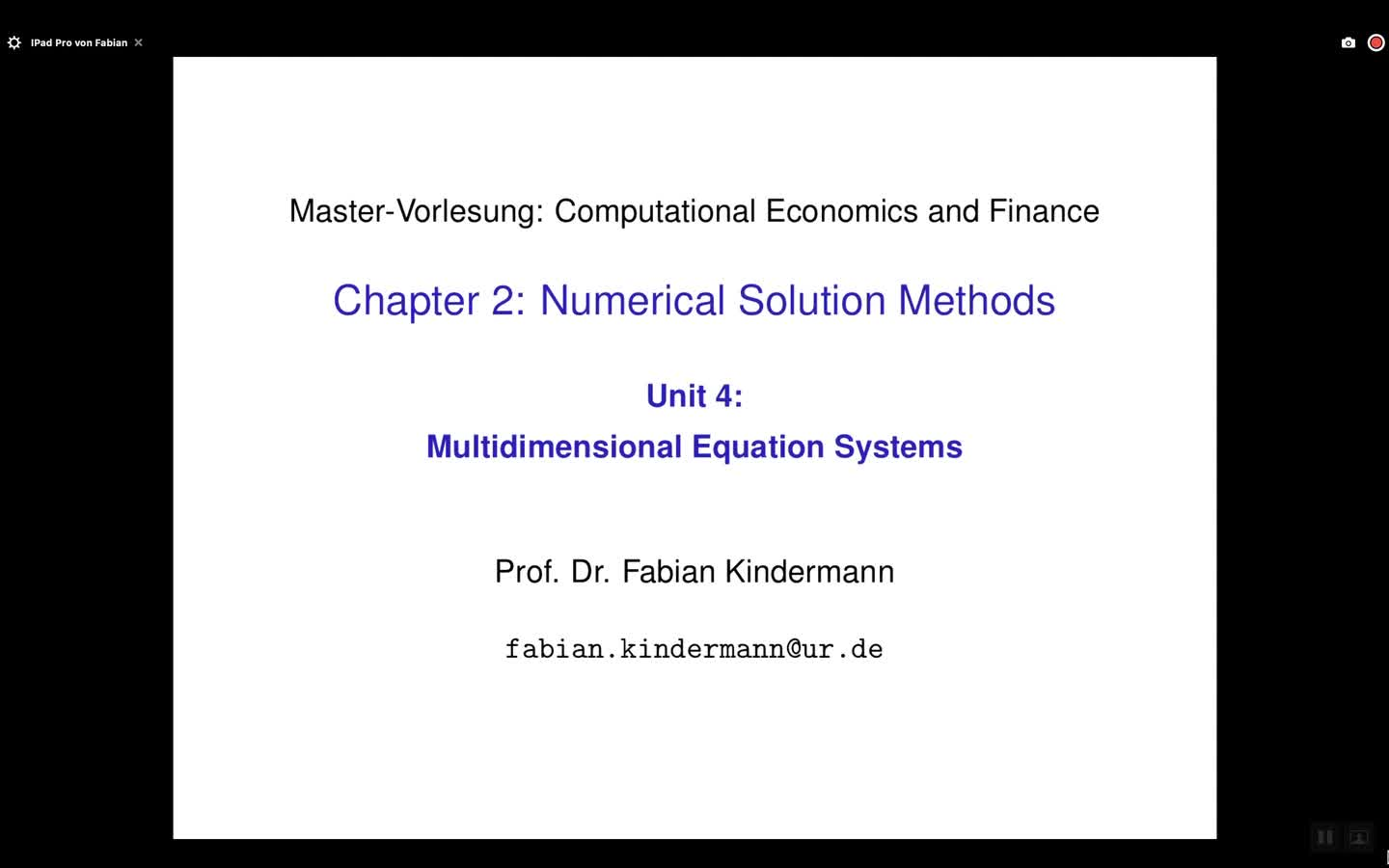 Chapter 2 - Unit 4 - Multidimensional Equation Systems