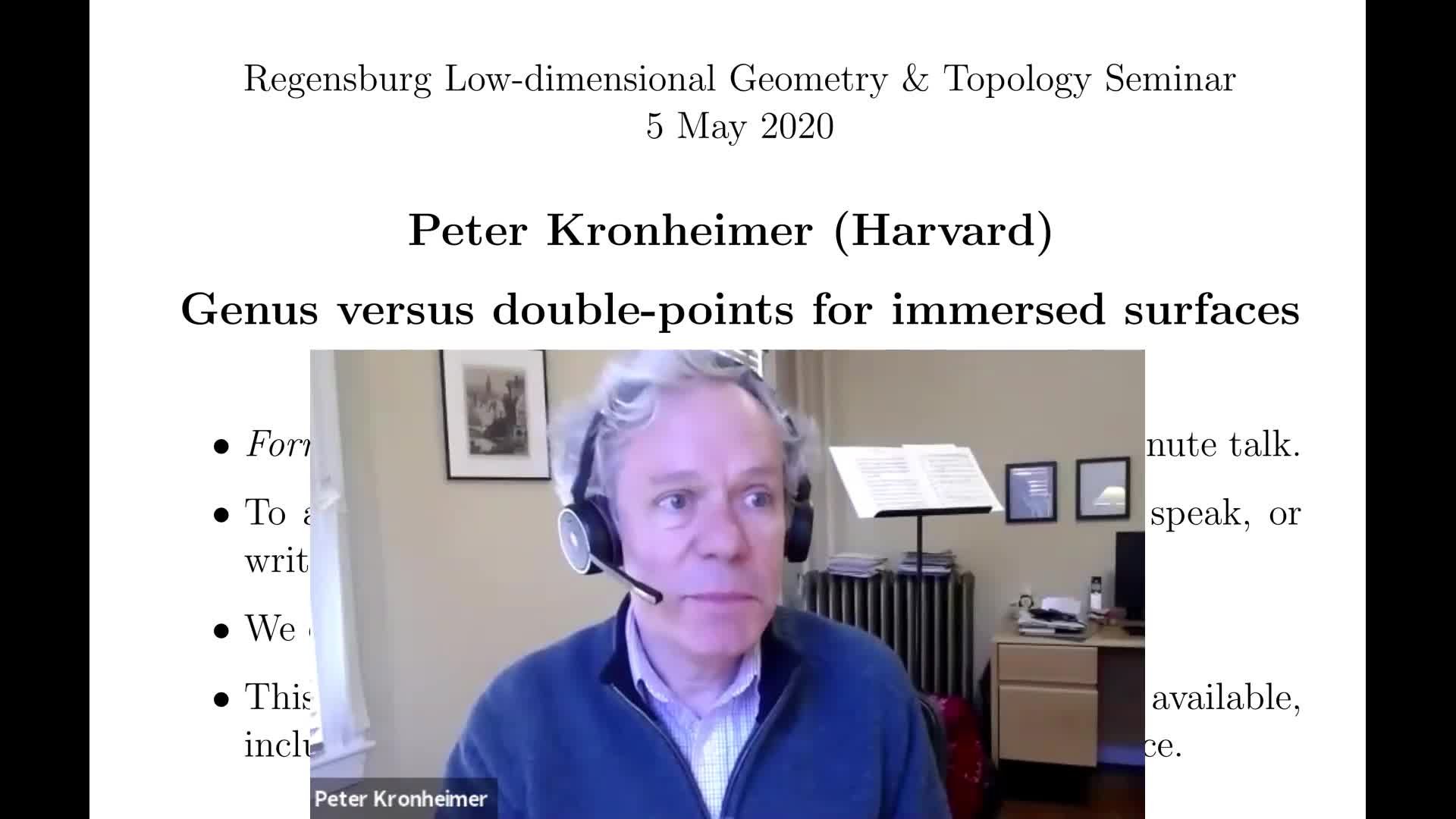 Peter Kronheimer: Genus versus double-points for immersed surfaces (RLGTS, 5 May 2020)