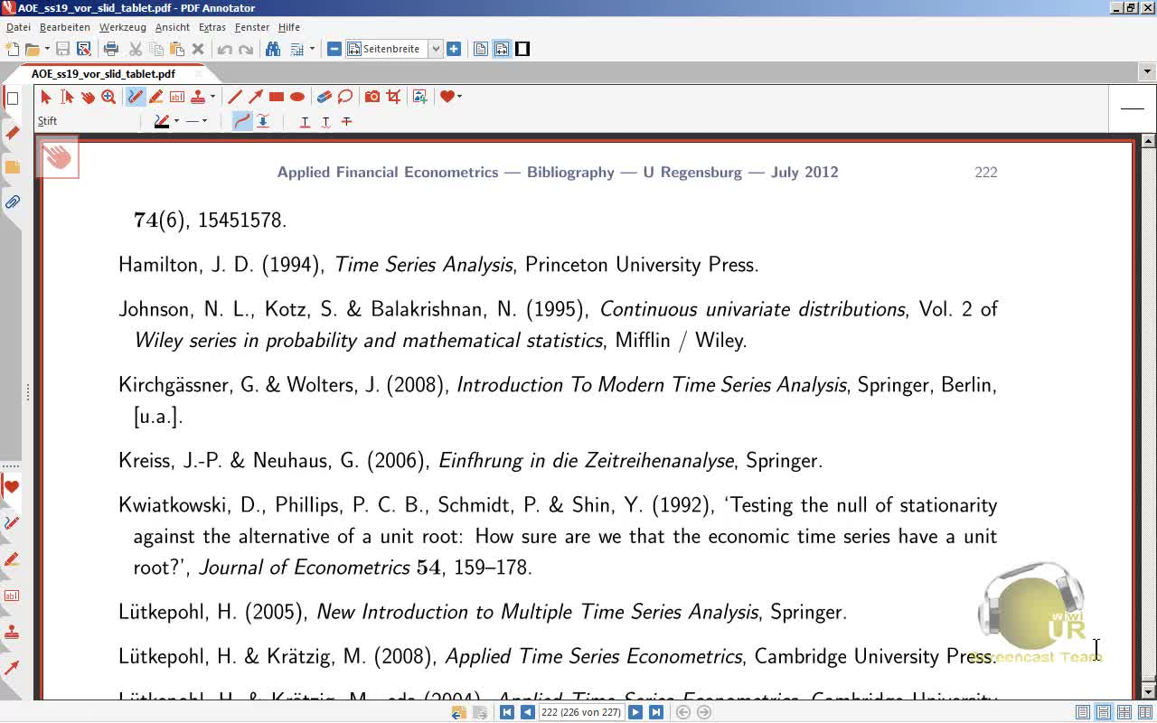 Applied Financial Econometrics, Lecture 5