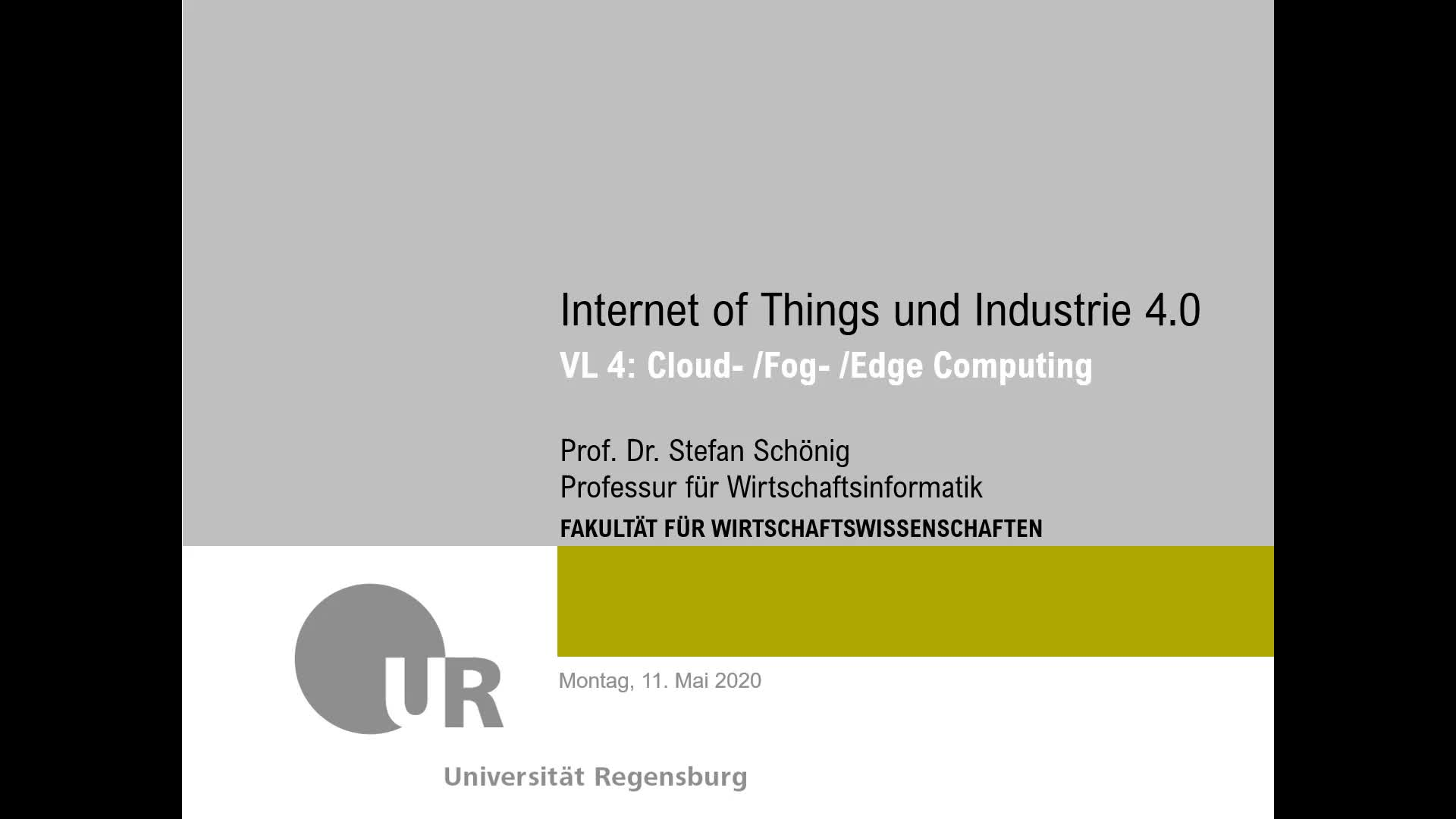 SS 2020 - Internet of Things und Industrie 4.0 - Kapitel 4 (Infrastrukturen - IoT Plattformen)
