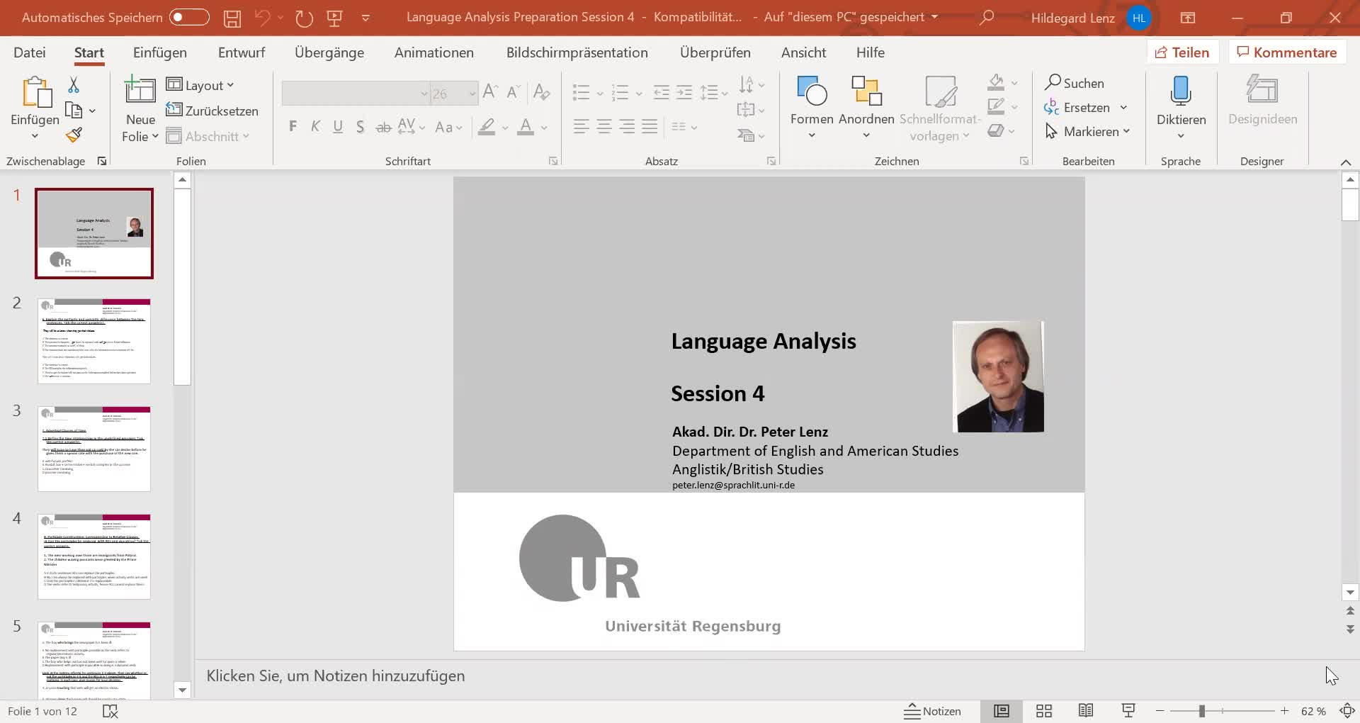 Language Analysis Session 4