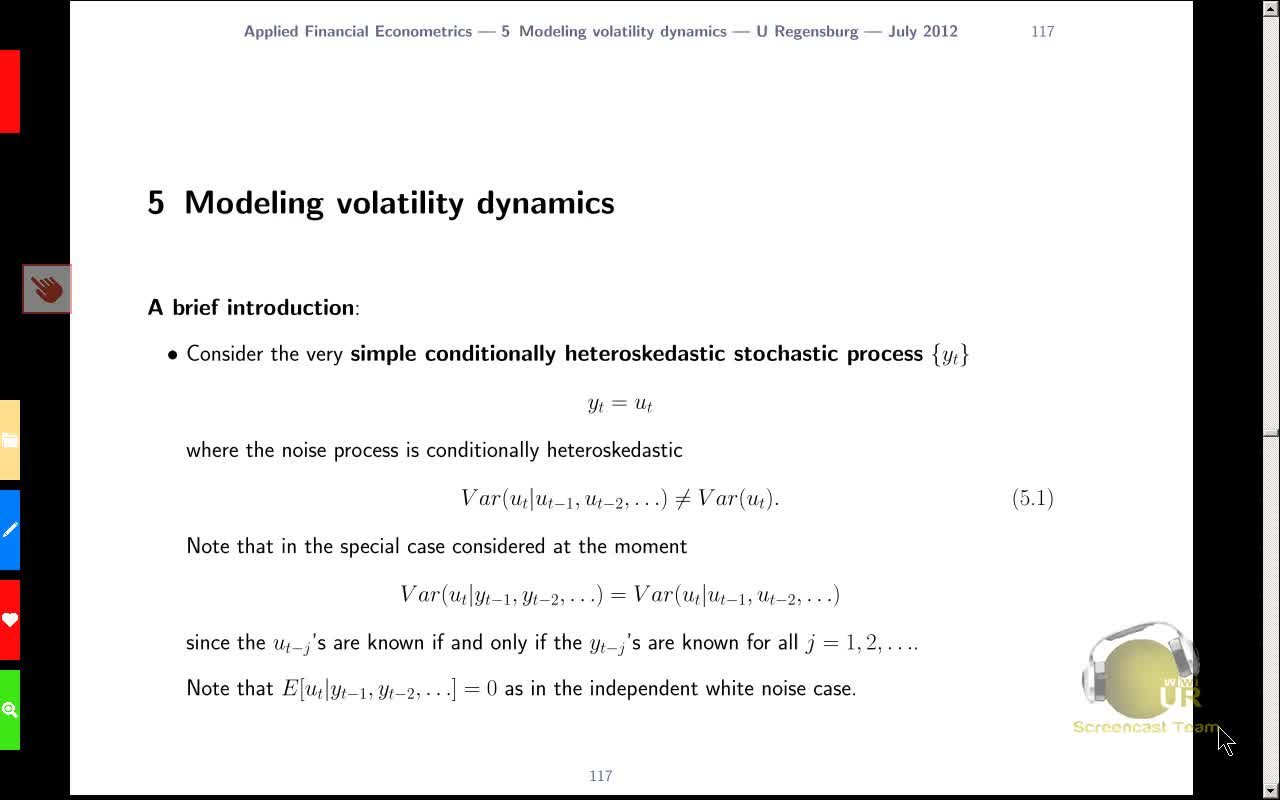 Applied Financial Econometrics, Lecture 8