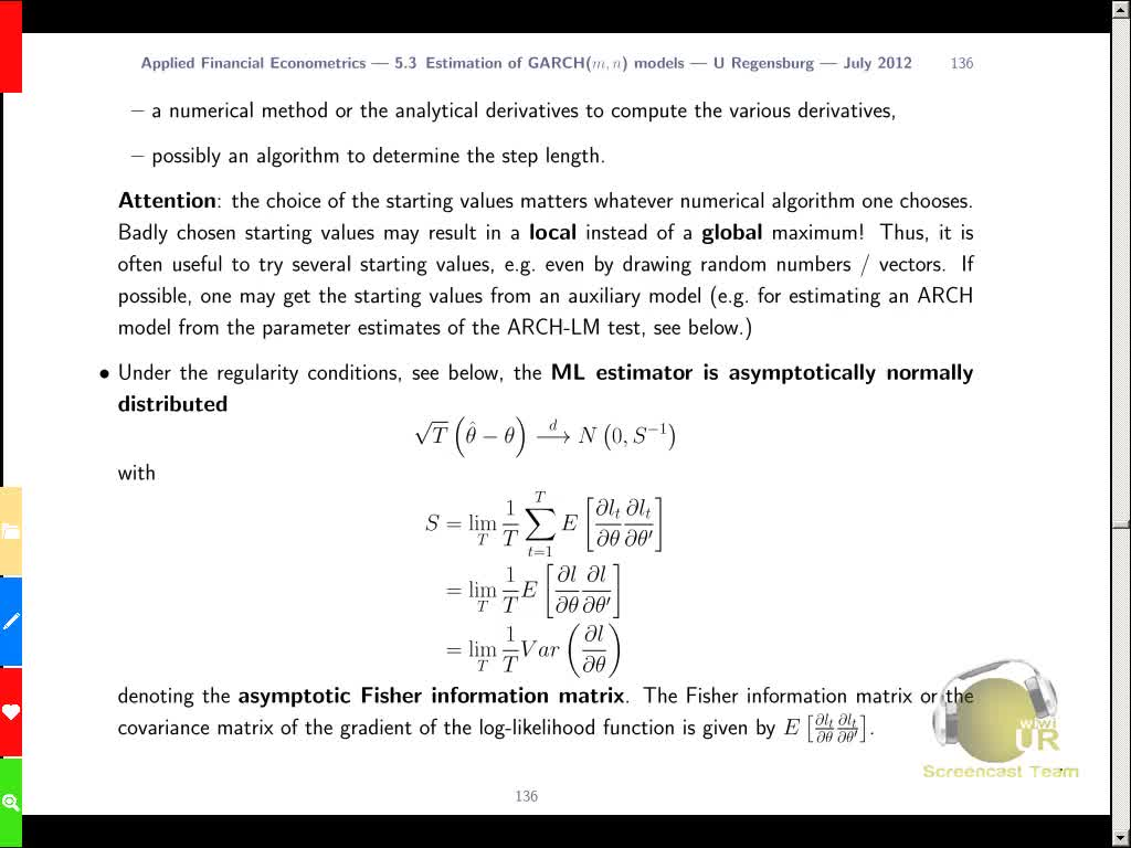 Applied Financial Econometrics, Lecture 9