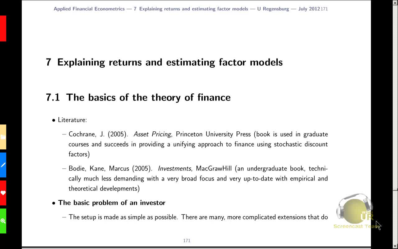 Applied Financial Econometrics, Lecture 11