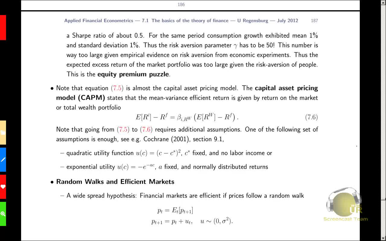 Applied Financial Econometrics, Lecture 12
