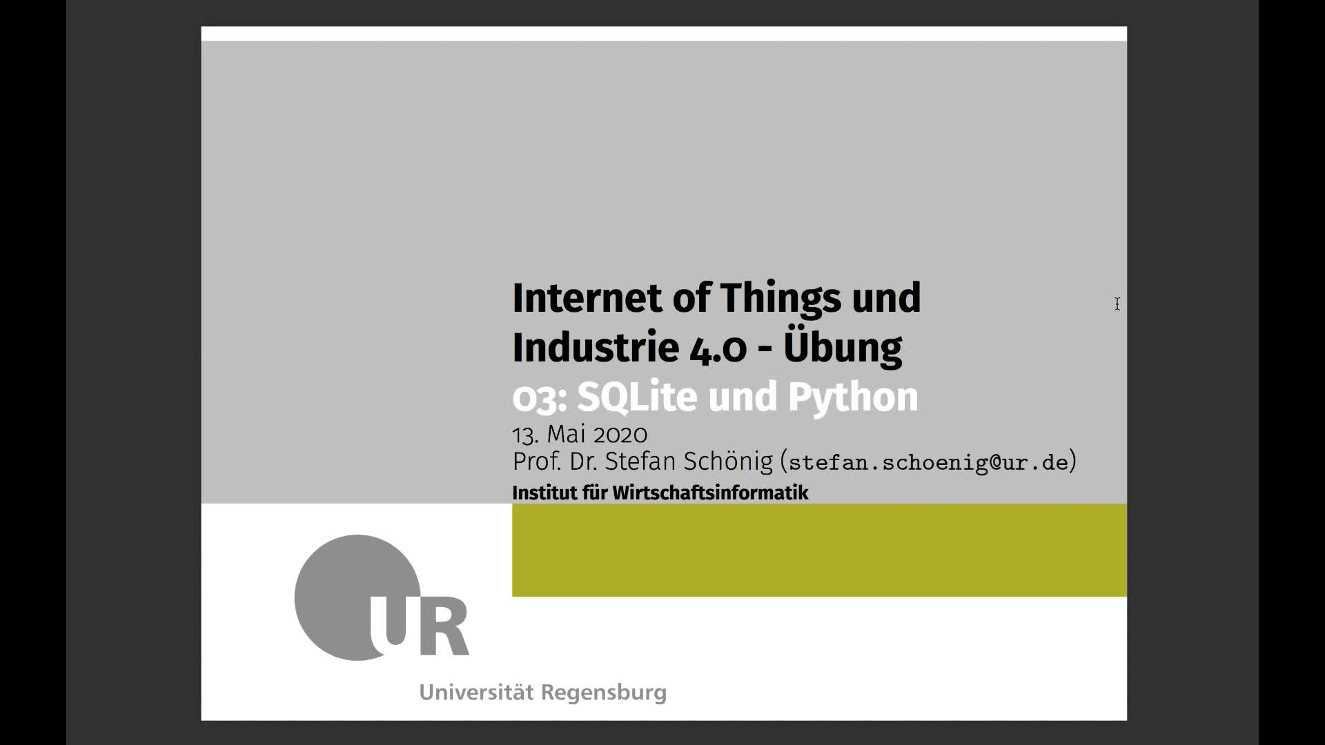 SS 2020 - Internet of Things und Industrie 4.0 - Übung 3 (SQLite Theorie)