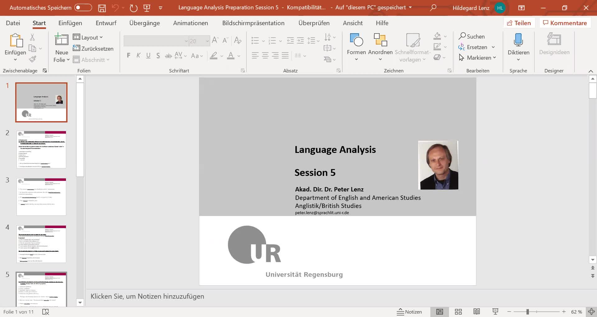 Language Analysis Session 5 Video