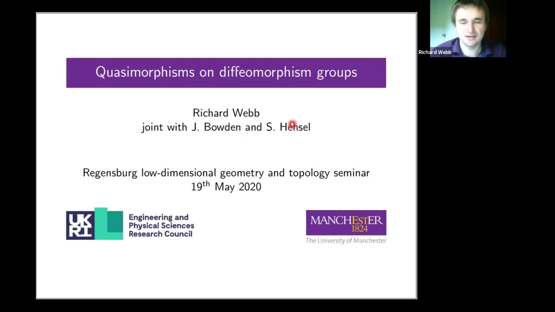 Richard Webb:  Quasimorphisms on diffeomorphism groups (RLGTS, 19 May 2020)