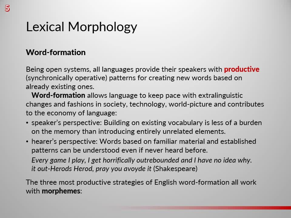 Introduction to English Linguistics 1: Theory and Structure – 05 Morphology – B