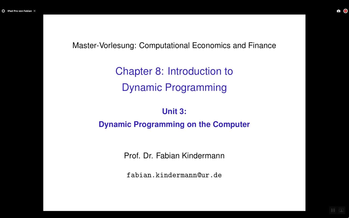 Chapter 8 - Unit 3 - Dynamic Programming on the Computer