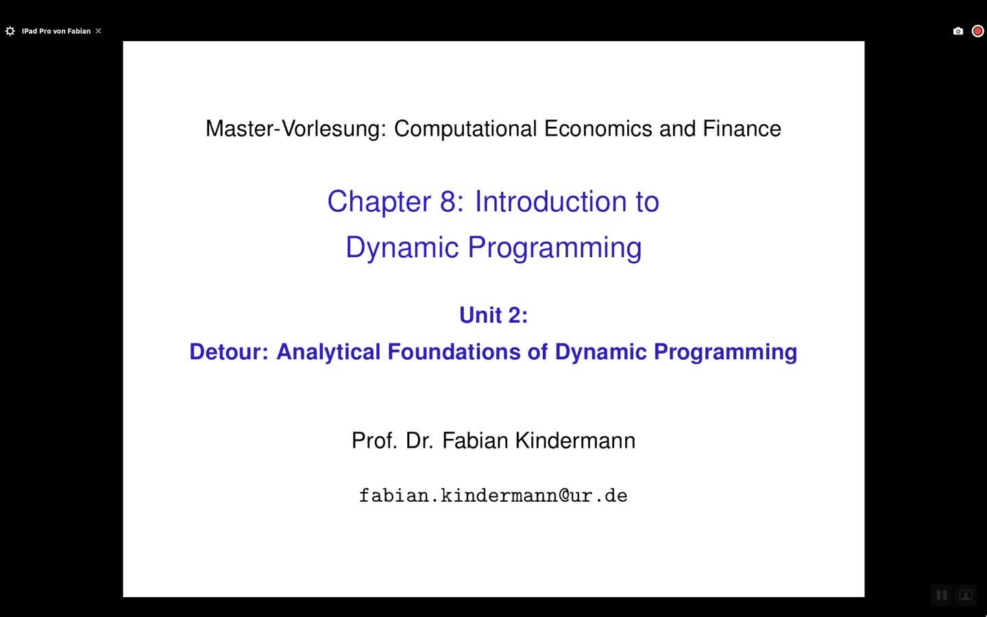 Chapter 8 - Unit 2 - Detour: Analytical Foundations of Dynamic Programming