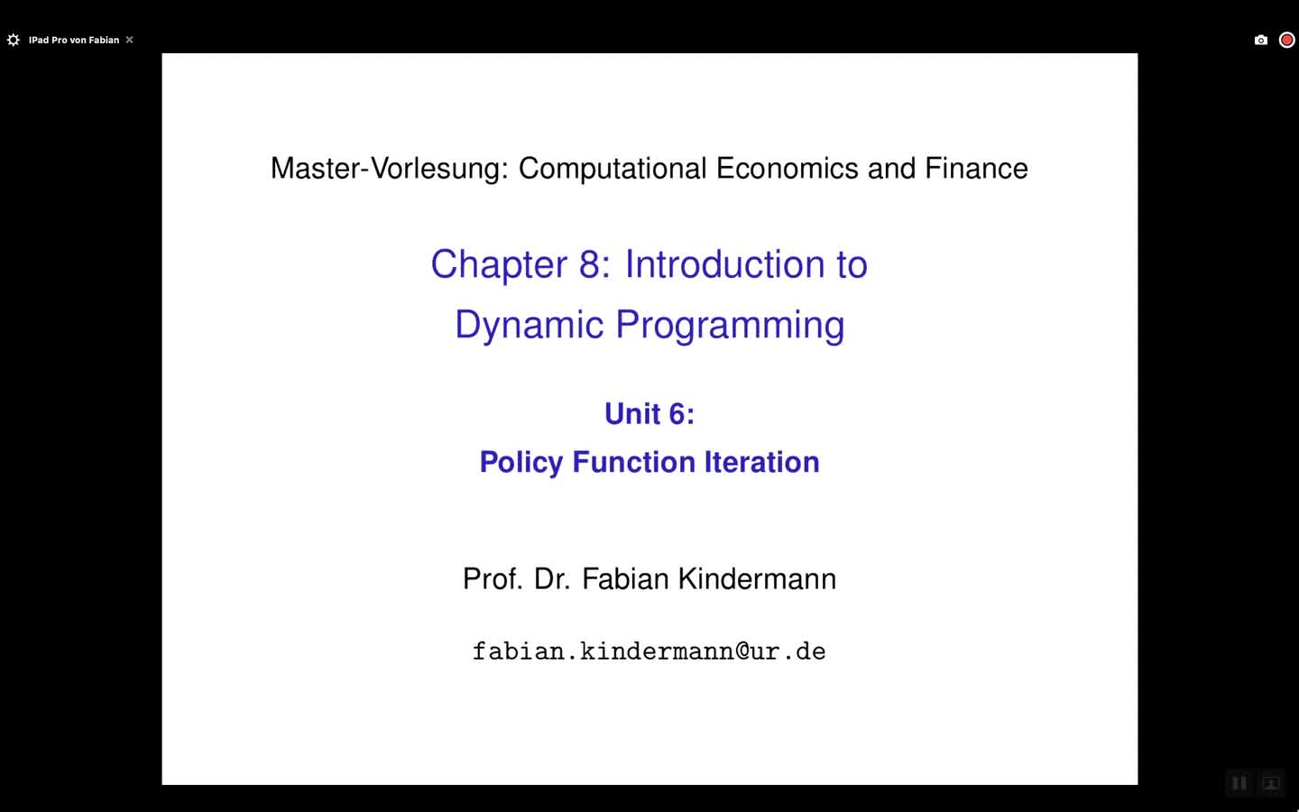 Chapter 8 - Unit 6 - Policy Function Iteration