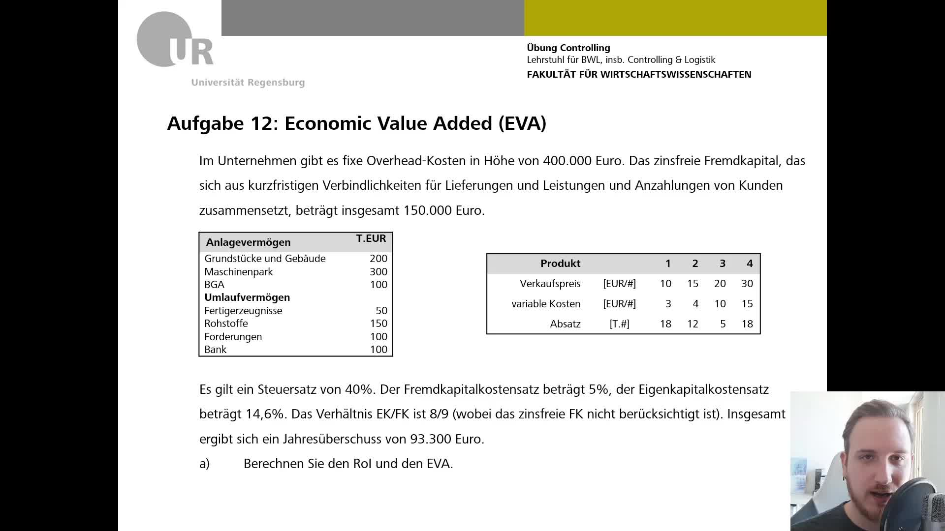 Controlling Übung VI - Übungsaufgabe 12: Economic Value Added