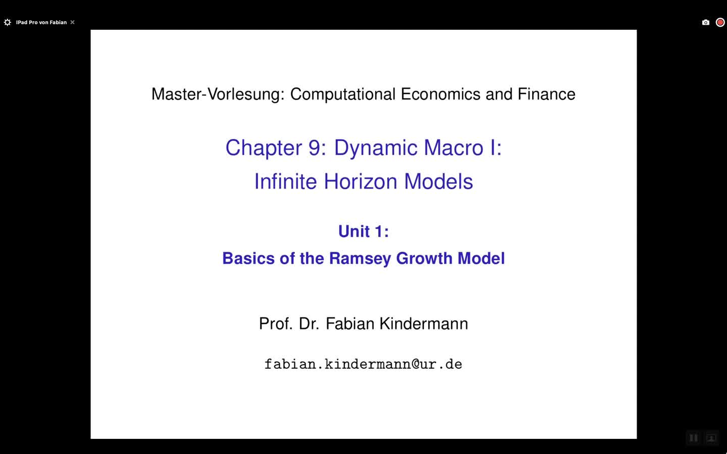 Chapter 9 - Unit 1 - Basics of the Ramsey Growth Model