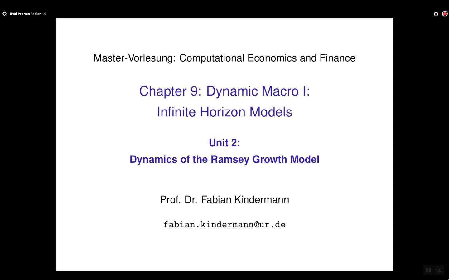 Chapter 9 - Unit 2 - Dynamics of the Ramsey Growth Model