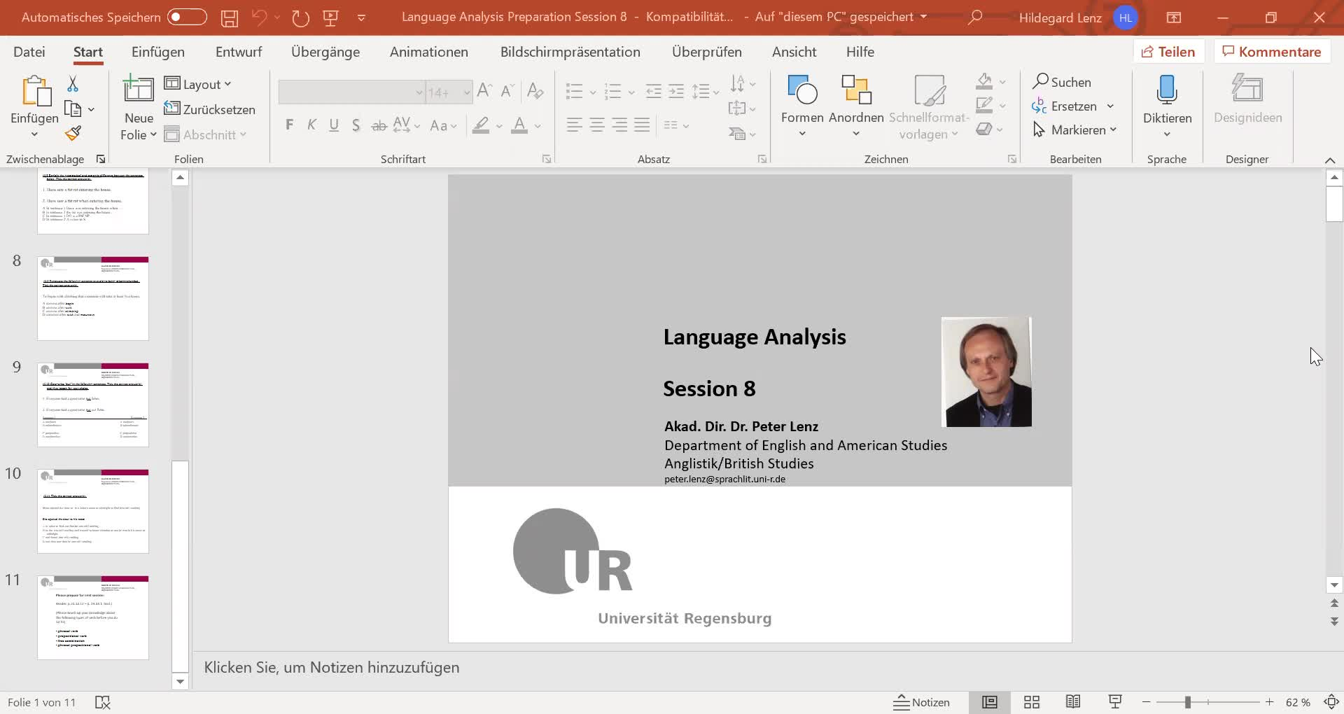 Language Analysis Session 8 Video