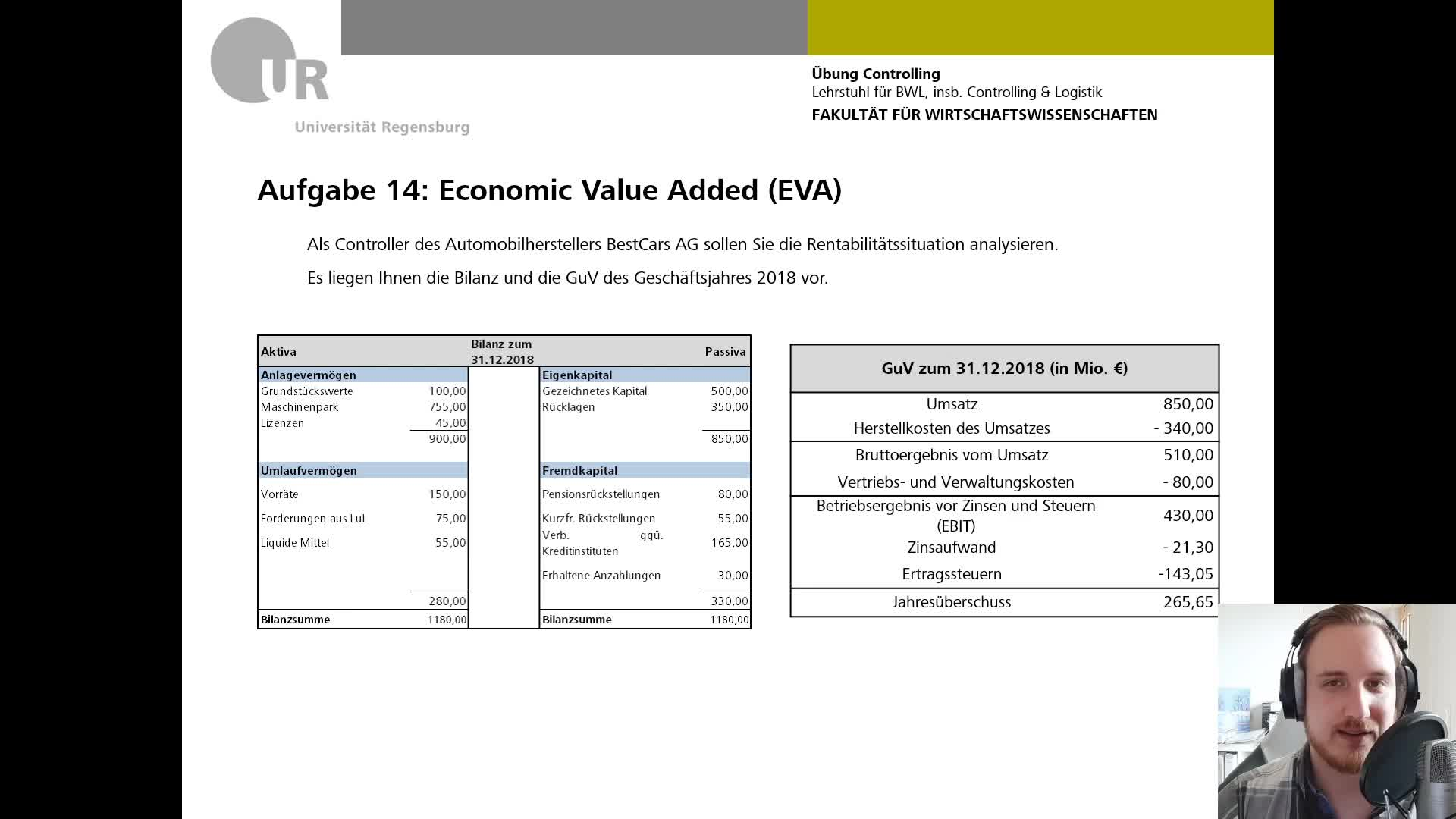 CO Übung VI - Aufgabe 14: Economic Value Added (EVA)