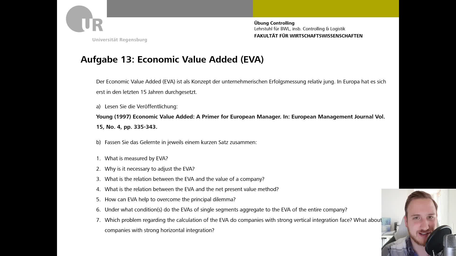 CO Übung VI - Aufgabe 13: Economic Value Added (EVA)
