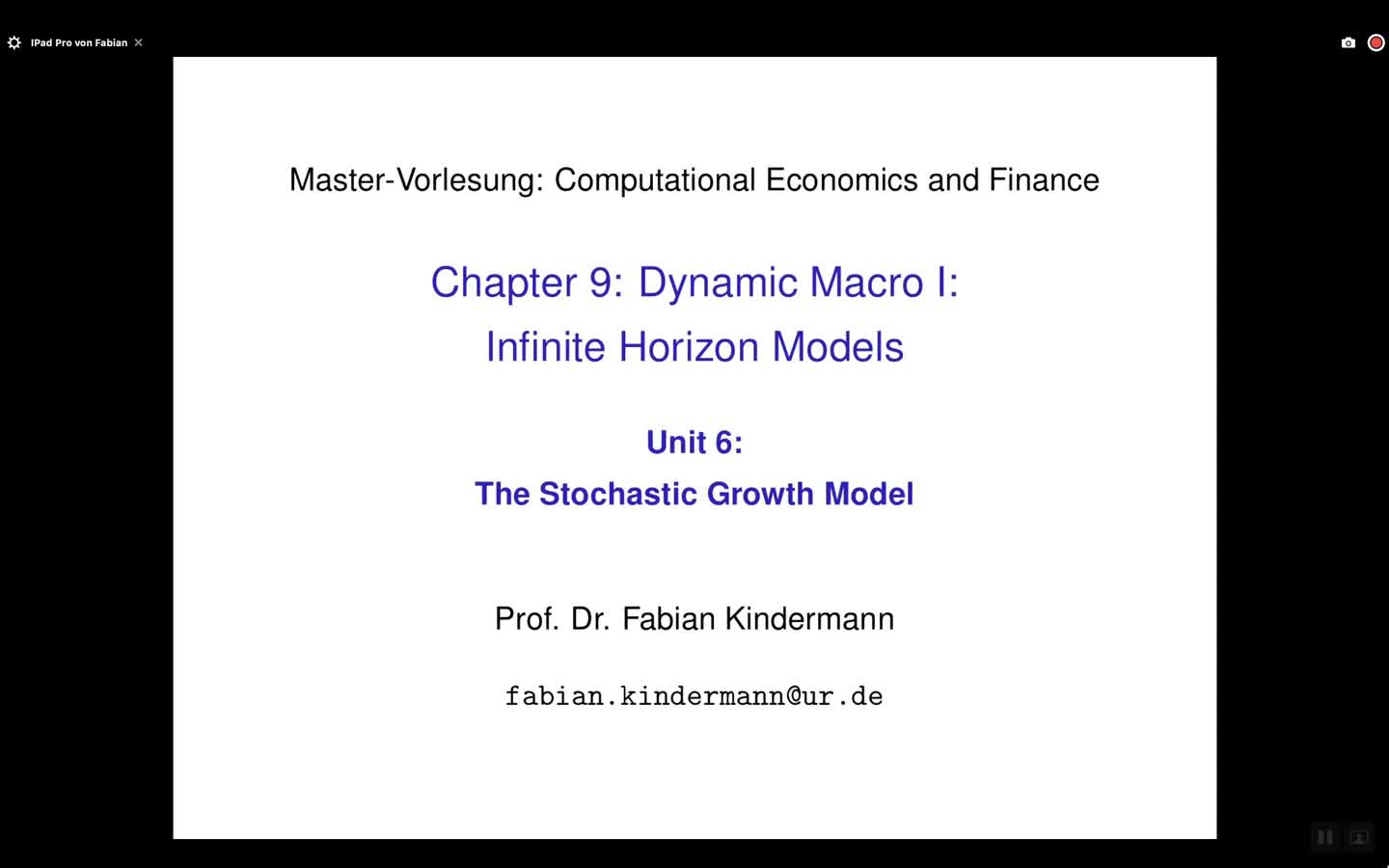 Chapter 9 - Unit 6 - The Stochastic Growth Model