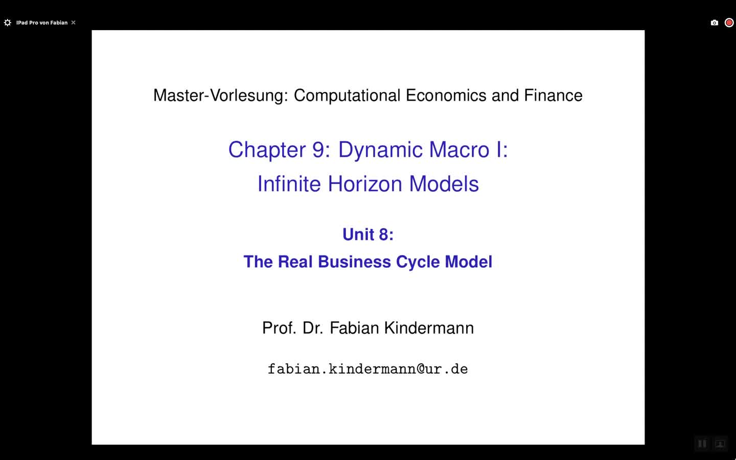 Chapter 9 - Unit 8 - The Real Business Cycle Model