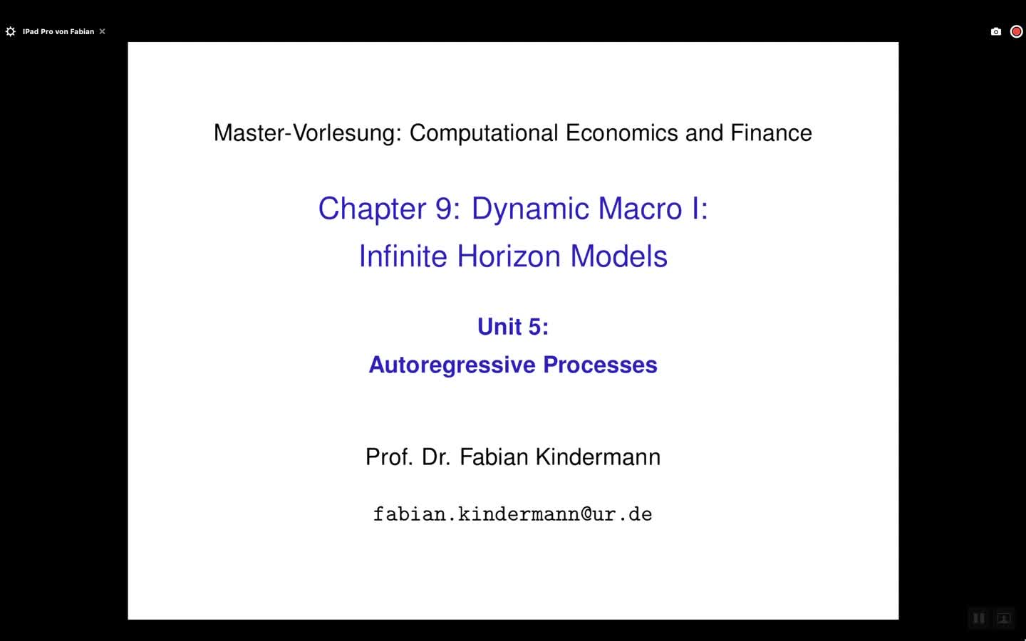 Chapter 9 - Unit 5 - Autoregressive Processes