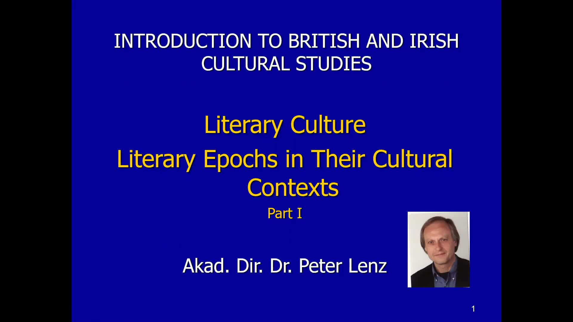 CS Lecture Literary Cultures Part I