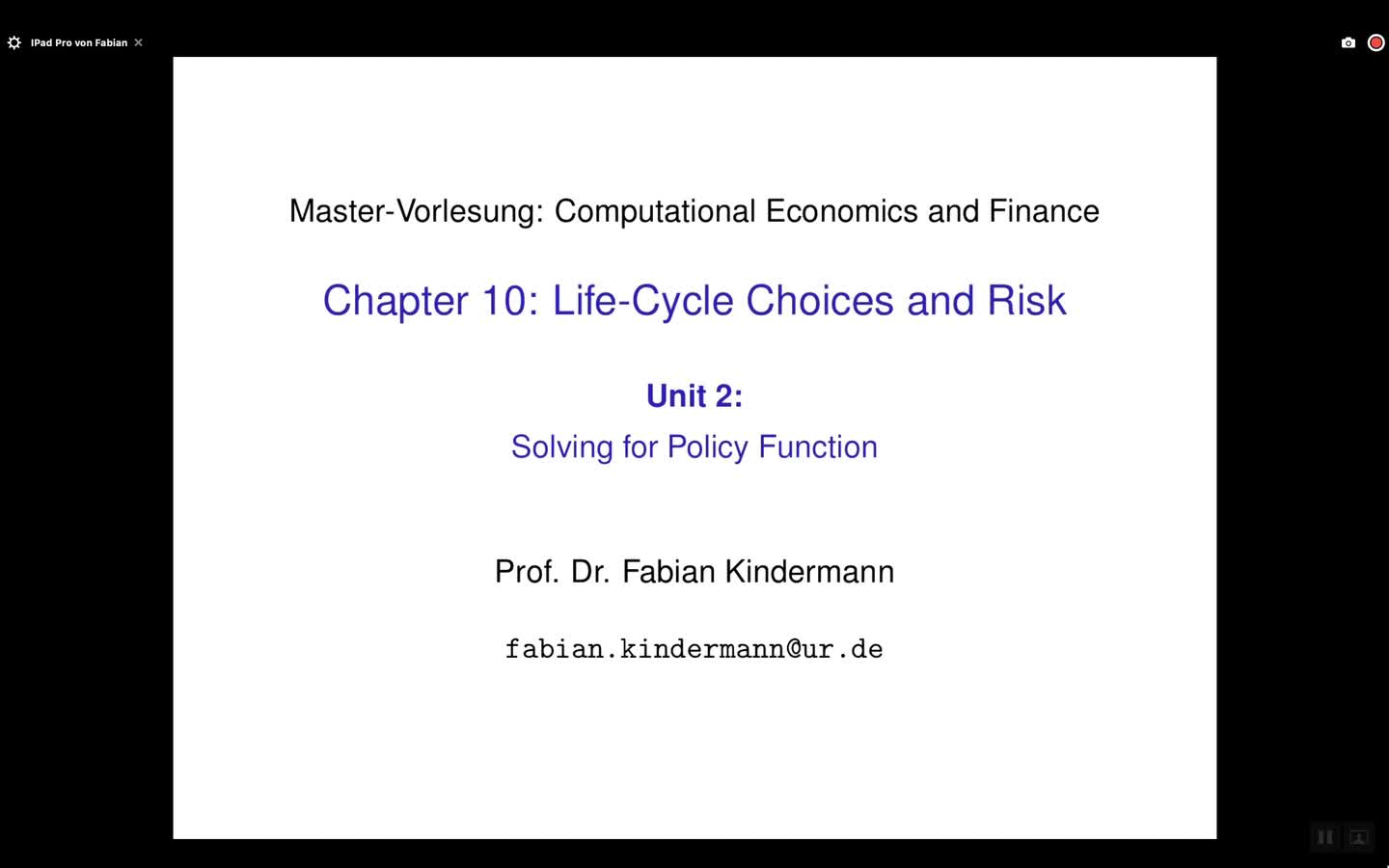 Chapter 10 - Unit 2 - Solving for Policy Functions