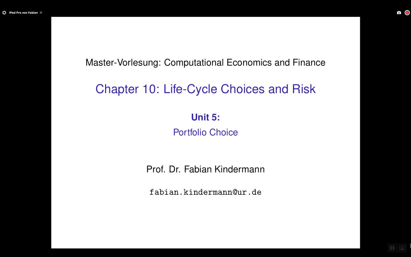 Chapter 10 - Unit 5 - Portfolio Choice