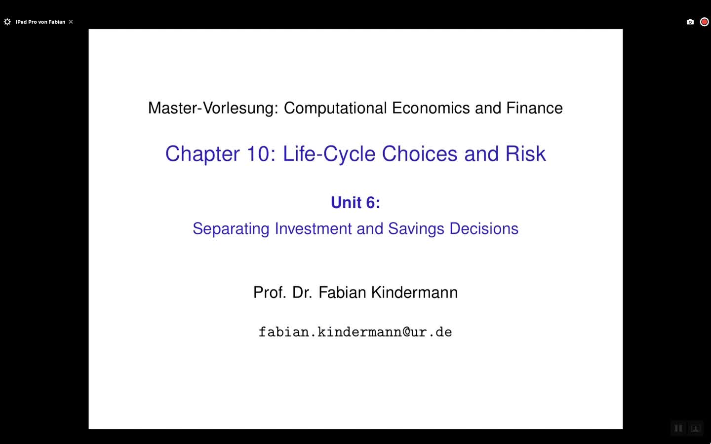 Chapter 10 - Unit 6 - Separating Investment and Savings Decisions
