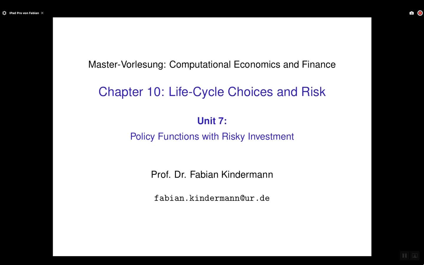 Chapter 10 - Unit 7 - Policy Functions with Risky Investment