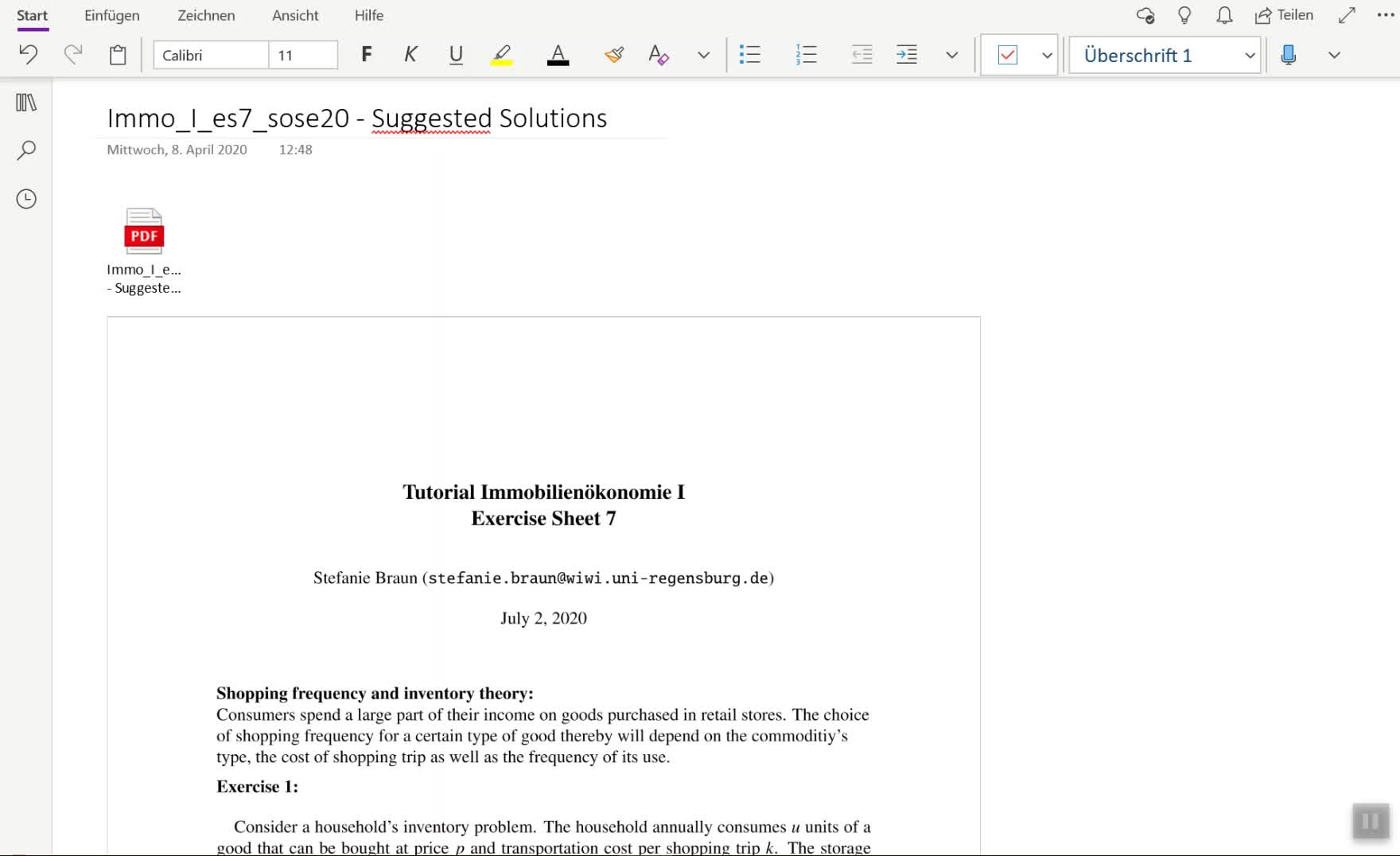 Screencast Exercise Sheet 7