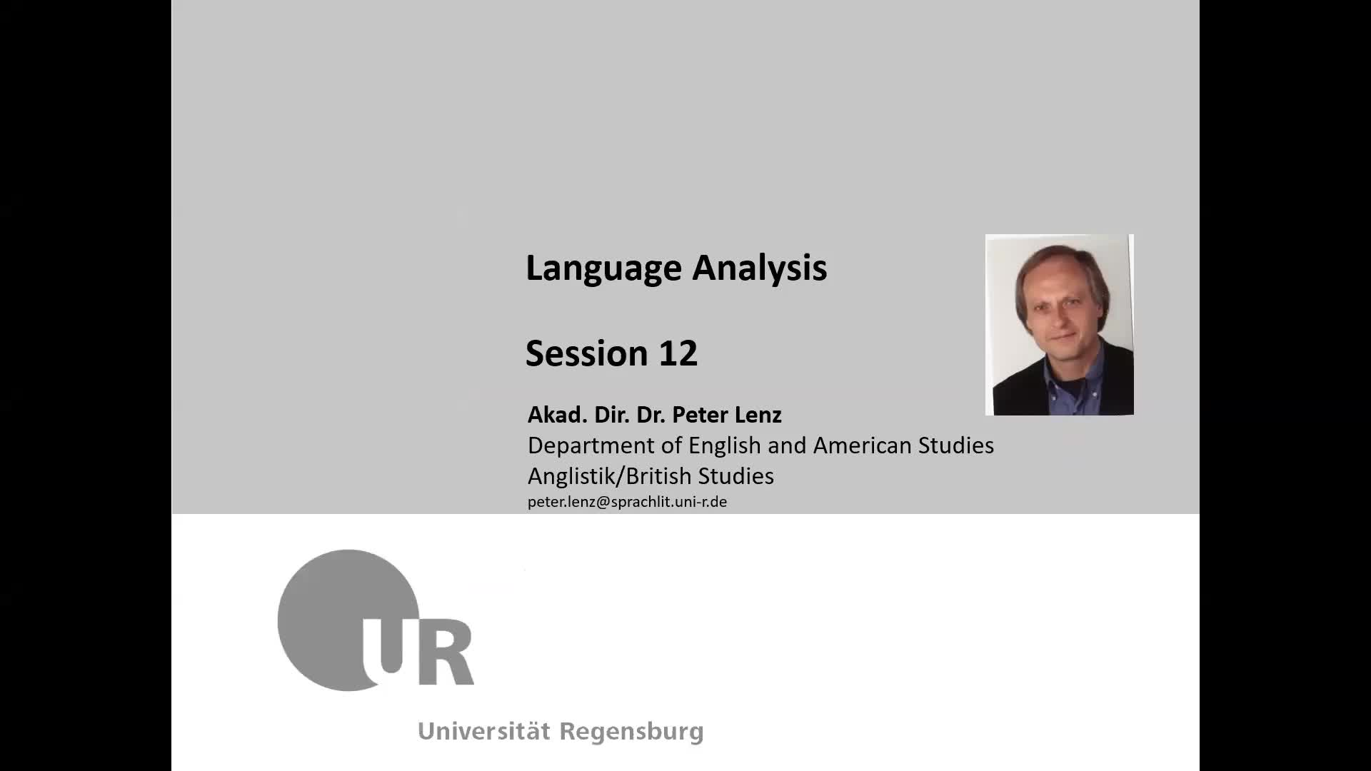 Language Analysis Session 12 Video