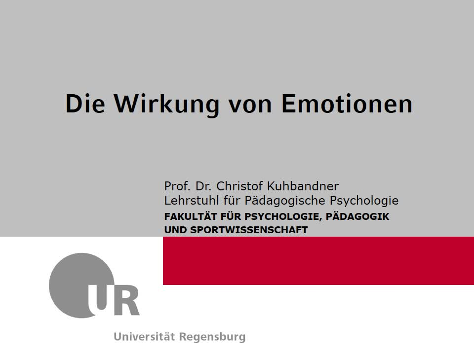Vortrag - Themenblock IV: Emotionen