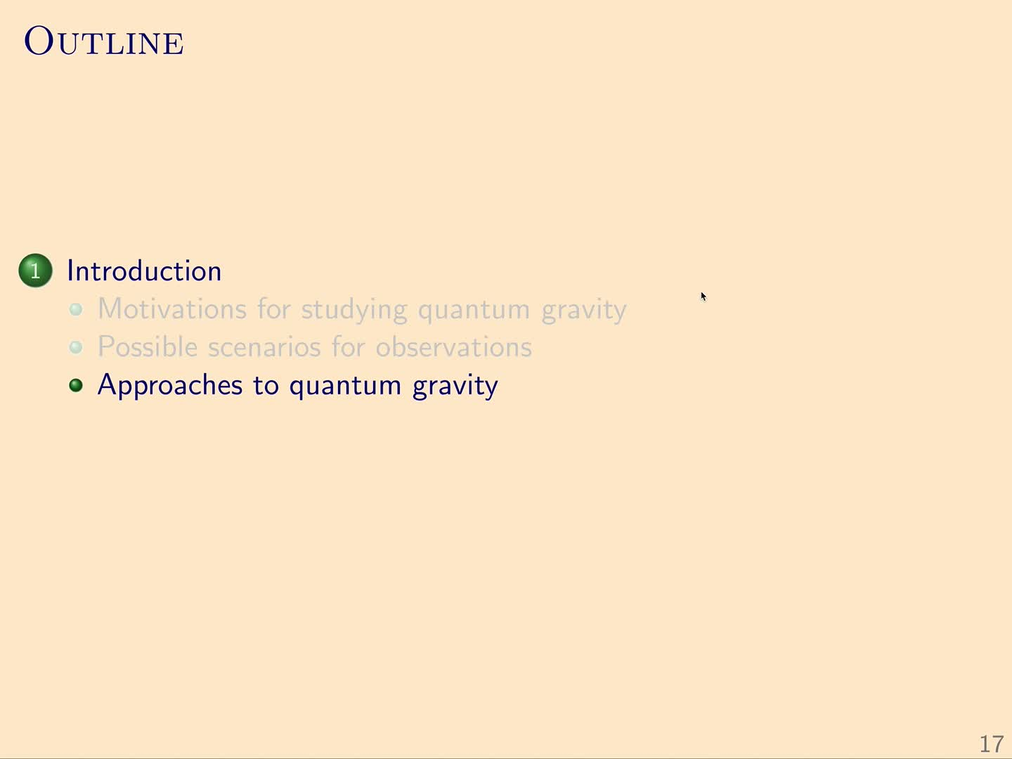 QG I: 1.3 - Approaches to quantum gravity