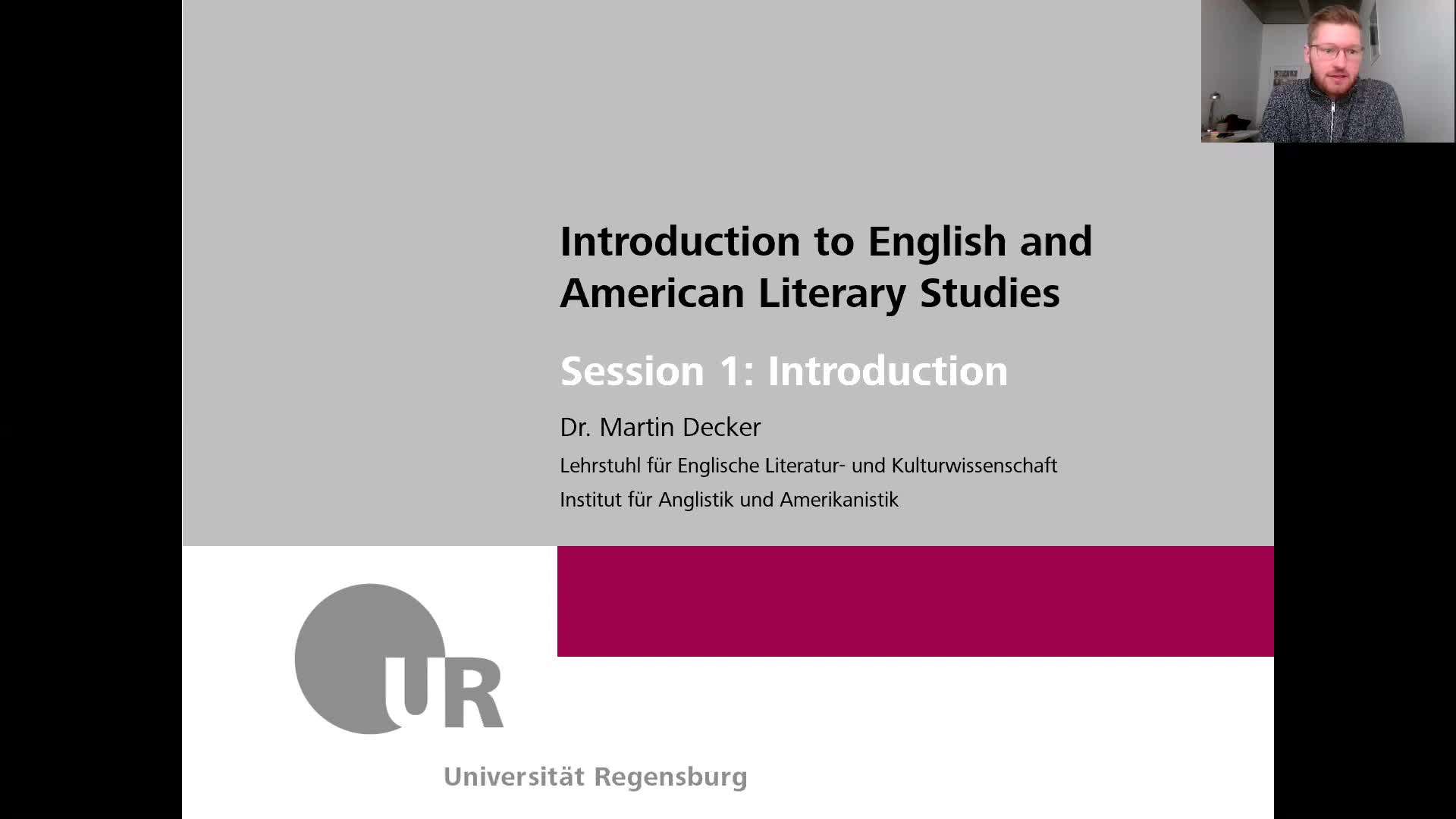 Introduction to English and American Literary Studies - LECTURE - Session 1