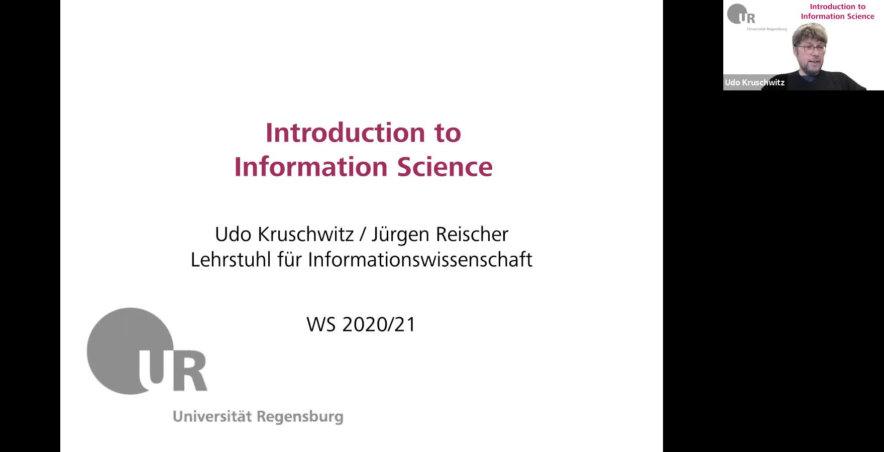 Introduction to Information Science - Lecture 1 (Overview)